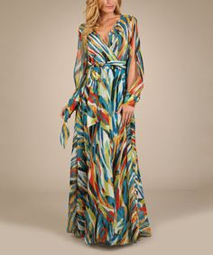 Look what I found on #zulily! Blue & Teal Abstract  Slit Sleeve Dress #zulilyfinds