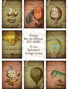 Vintage Hot Air Balloons ATC -Digital Collage Sheet- aceo altered art hang tags greeting cards flying tattered air ships. $4.00, via Etsy.