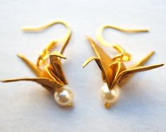 Pearlised Paper #Origami Crane #Earrings with by BirchHandmade, £12.00