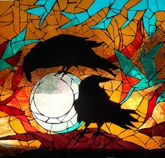 """Stained glass, """"Mosaic Stained Glass Crows,"""" by Catherine Van der Woerd, Fine Art America."""