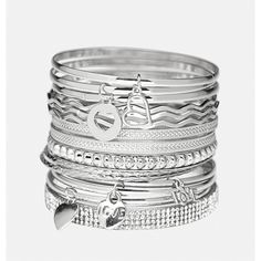 Avenue Charm Bangle Set ($16) ❤ liked on Polyvore featuring jewelry, bracelets, plus size, silver, rhinestone jewelry, bangle set, rhinestone heart charm, heart jewelry and charm jewelry
