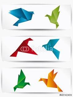 Vecteur : Origami japan paper flying bird