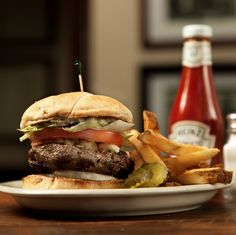 Our Greek Lamb Burger with Hand-Cut Fries