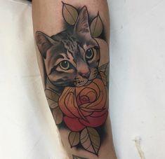 New Ideas For Tattoo Cat Traditional Tattoo Gato, Raven Tattoo, Desenho Tattoo, Cat Tattoo, Cat Portrait Tattoos, Body Art Tattoos, New Tattoos, Sleeve Tattoos, Cool Tattoos