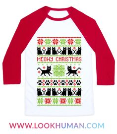 """Tired of itchy sweaters, but want to impress your fellow introverts and cat lovers? Do so and stay warm with this cute cat faux christmas sweater! It can be really hard to find nice ugly christmas sweater patterns with cats in them, but this one does, and it's complete with cute pawprints and """"Meowy Christmas"""" in an adorable pixel pattern format!"""