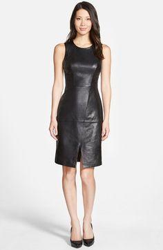 Halogen® Leather & Knit Sleeveless Sheath Dress (Regular & Petite) available at #Nordstrom
