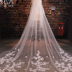 Luxury wedding veil Cathedral veilBridal veill off white veil lace veil two tiers veil with comb ivory veil in handmade 3.5meter on Etsy, $129.00