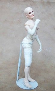 """Abigail is assembled and posed! You can see the nice curve """"sway"""" to her back.  I plan to give her an Edwardian costume.  I am thinking a Day Dress of some sort. Miniature Doll, 1/12th scale."""