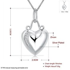 Aliexpress.com : Buy silver heart shaped pendant necklace with zircon classic charm jewelry beautiful top quality hot Christmas gift from Reliable necklace topaz suppliers on ZSJ brand Jewelry