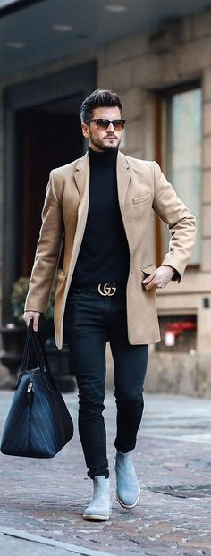 Turtle Neck Outfit Ideas For Men This Year Turtle neck t-shirt is one of the basic fashion piece in every men's wardrobe during fall. 10 trendy turtleneck t-shirt outfit ideas for men to style now. Black Shirt Outfit Men, Cowboy Outfit For Men, Vans Outfit Men, Blazer Outfits Men, Pants Outfit, Nike Outfits, Mens Casual Wedding Attire, Casual Wear For Men, Casual Ootd