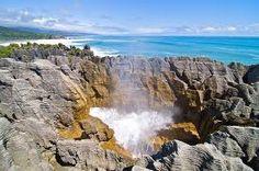 Pancake Rocks and Blow Hole . Paparoa National Park along the west coast of the South Island - Punakaiki, New Zealand Honeymoon In New Zealand, Marlborough Sounds, New Zealand South Island, Natural Scenery, West Coast, Tourism, National Parks, Places To Visit, Pancake