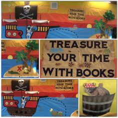 Treasure Your Time With Books!  October is reading month.  This bulletin board has treasure, pirates, palm trees, crocodile, mermaids, a big pirate ship and a sunrise or sunset, whichever you choose.