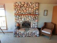 River Stone Fireplace tiered river stone fireplace   for the home   pinterest   river