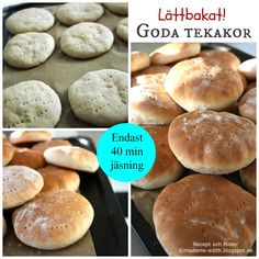 Madame Edith - Recept: Tekakor med kort jästid Muffin Recipes, Baking Recipes, T Shirts, Bakery, Food And Drink, Rolls, Corner, Workout, Bread