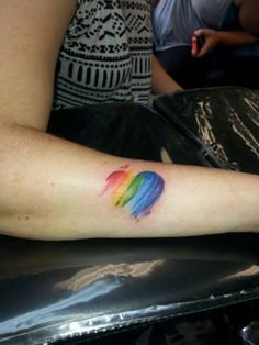 Rainbow heart/ watercolor tattoo 905-270-9595 Mississauga, ON