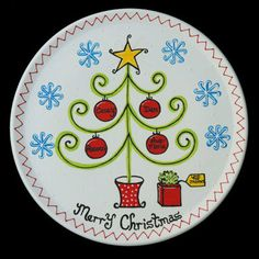 "Personalized Hand Painted ""Merry Christmas"" Ceramic Plate by LittleBugCeramics.com, $70.00"