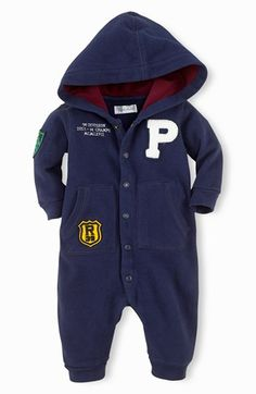Ralph Lauren Hooded Romper (Baby Boys) available at #Nordstrom