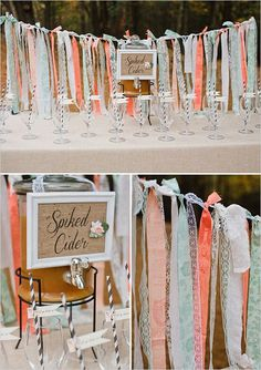 spiked apple cider | fall cocktail | diy ribbon backdrop | fall wedding ideas | #weddingchicks