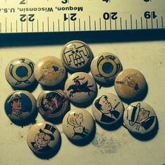 Vintage 1940's Kelloggs Pep pins. Future rust belt americana vintage junkyard jewelry.