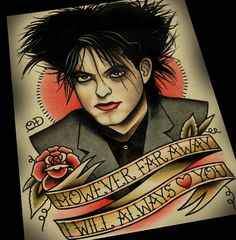 Robert Smith Tattoo Flash Print by ParlorTattooPrints on Etsy https://www.etsy.com/listing/183298250/robert-smith-tattoo-flash-print