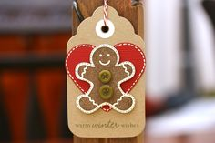 Warm Gingerbread Cookie Wishes - Holiday Gift Tags - Set of 5. $6.25, via Etsy.