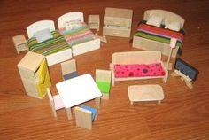 """DIY Dollhouse furniture from wood. I am looking for """"chunky"""" sturdy made-for-little-girl-hands dollhouse furniture for my twin granddaughters' first house."""
