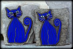 "The Twins ""Cat Turned Blue"" Mosaic on Rock by Chris Emmert, via Flickr"