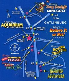 Here is a map of all of the Ripley's Attractions in Gatlinburg and Pigeon Forge Tennessee. Cabins rentals are the way to go in the Smoky Mountains Gatlinburg Map, Gatlinburg Vacation, Tennessee Vacation, Vacation Trips, Tennessee Cabins, Vacation Rentals, Gatlinburg Tennessee Attractions, Vacation Ideas, Tennessee Map