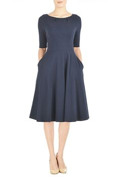 I <3 this Cotton knit fit and flare dress from eShakti