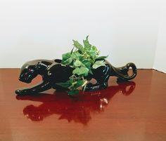 Vintage Planter, Mid Century Modern Planter, Black Panther Planter, Vintage Home Decor, MCM Vintage Home Decor, Vintage Art, Vintage Shops, Modern Planters, Vintage Planters, Red Streaks, Dressing Table Mirror, Black Panther, Pottery Art