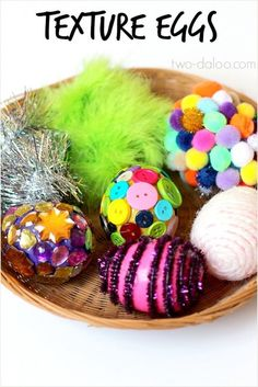 Make a set of these texture eggs to use for sensory play and to build speech and language skills- lots of great ideas for extension activities in the post!