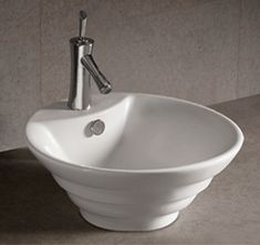 WHKN1054 18″ Isabella round stepped above mount basin with overflow, single faucet hole and center drain « Whitehaus Collection Products