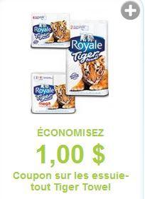 Coupon rabais pour l'essuie-tout Tiger Towel - Quebec echantillons gratuits