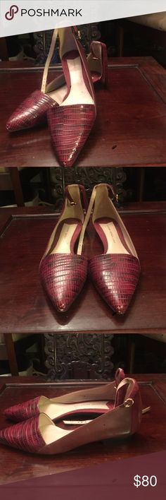 Maroon flat by Derek lamb Leather embossed snake skin with leather and suede in back of shoe. Worn once, 10 Crosby Derek Lam Shoes Flats & Loafers