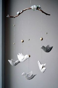 Bird Mobile for Home or a Baby Nursery Decoration, Home Décor Gift, Wedding Decoration, Unique Natural Mobile, Tree Branch with Linen Birds. What Is The Purpose Of A Baby Shower Tree Branch Decor, Tree Branches, Baby Nursery Decor, Baby Decor, Deco Dyi, Baby Wedding, Gift Wedding, Tree Wedding, Wedding Simple