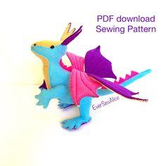 PDF Sewing Pattern, Felt Dragon Pattern, Felt Plushie Dragon, Toy Dragon, Downloadable Pattern, PDF downloadable, sewing tutorial by EverSewNice on Etsy
