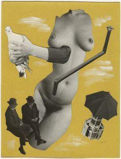 Marcel Bovis(1904-1997) . Deux messieurs en costumes de ville, un nu féminin sans tête ni bras, une vespasienne.Photomontage.