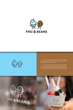 Cartoon Character Logo for Frozen Yoghurt and Coffee Shop by Dimitry99 http://jrstudioweb.com/diseno-grafico/diseno-de-logotipos/