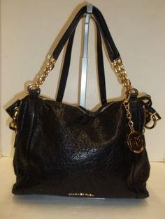 MICHAEL KORS Black Leather Stanthorpe Gold Chain Strap Satchel Handbag