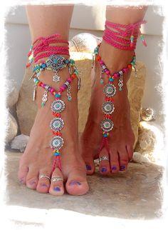 Hot Pink BIKINI Daisy BAREFOOT sandals Ibiza summer Toe by GPyoga