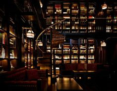 LIBRARY Dining Room in THE NOMAD HOTEL, a luxury hotel in Midtown Manhattan, New York City. The space is a fully curated, two-level library which is connected by an original spiral staircase imported from the South of France. I'd love just to see it. Nomad Hotel Nyc, Nomad New York, The Nomad, Library Bar, Cozy Library, Dream Library, Library Room, Future Library, Luxury Houses