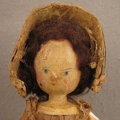 "MId 1800s 13"" Peg Wooden Doll w/ Original Clothes"