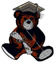 Graduating Bear Embroidery design - Machine Embroidery Designs