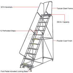 Cotterman 4-Step Tilt-N-Roll Steel Ladder with 24