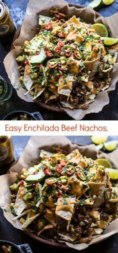 Easy Enchilada Beef Nachos   halfbakedharvest.com @hbharvest