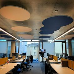 ViCloud VMT Flat installed in an Office by Big Bear Sound in Ireland Background Noise, Acoustic Panels, Big Bear, Workspaces, Atrium, Open Plan, Ireland, Flat, Architecture