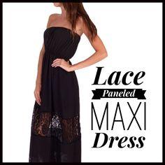 Lace-Paneled Maxi Dress