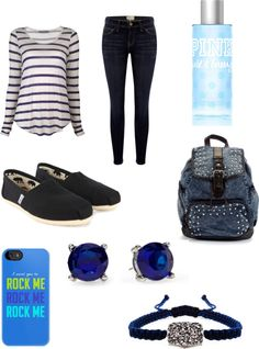 """""""School: Friday"""" by ootd4you ❤ liked on Polyvore... I don't like the backpack or the phone case.. but other than that"""