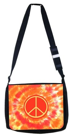 TM School Messenger Bag and Pencil Case Set Colorful Peace Symbol Rosie Parker Inc