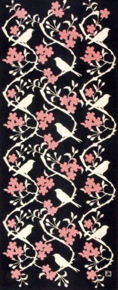 Japanese Tenugui Cotton Fabric, Cherry Blossom & Bird, Pink Sakura flower, Home Decor Art Fabric, Hand Dyed Floral Fabric, Wall Hanging, JapanLovelyCrafts